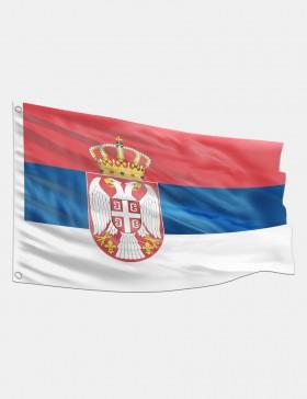 Drapeau Serbie avec blason...